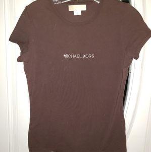 EUC Michael Kors T-Shirt Size Med Brown w/Studs